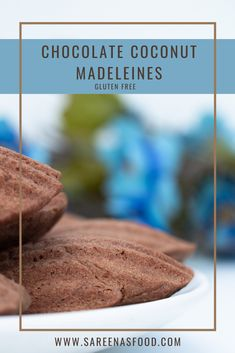 Chocolate Coconut Madeleines (Gluten Free) – Sareena's Food French Desserts, My Recipes, Coconut, Gluten Free, Chocolate, Food, Glutenfree, Essen, Sin Gluten