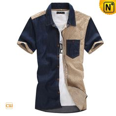 Button up Denim Short Sleeve Shirts for Men CW114233 $75.89 - www.cwmalls.com