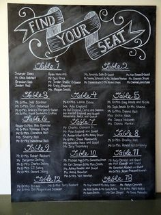 Chalkboard Wedding Seating Plan - I like the chalkboard and the calligraphy is beautiful Seating Plan Wedding, Wedding Signage, Wedding Reception, Seating Plans, Wedding Table, Wedding Typography, Event Signage, Reception Seating, Kids Seating