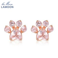 LAMOON Stud Earring 100% Lovely Natural Claw Gemstone Heart Rose Quartz 925 Sterling Silver Fine Jewelry For Woman MEI040   #silver #jewelry #animal