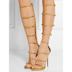 Posh Girl Gold Stiletto Gladiator Sandals-Gold-10 (590 PEN) ❤ liked on Polyvore featuring shoes, sandals, gold, gold high heel sandals, metallic gold shoes, high heel shoes, open toe sandals and greek sandals