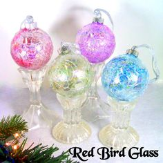 Pastel Glass Ball Christmas Ornaments by Red Bird Glass on Etsy, $30.00