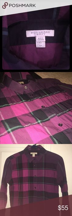 Burberry button down flannel AUTHENTIC BURBERRY flannel. In a deep plum color. Perfect for fall layering. Pair it with a statement necklace and some cute flats and you instantly have a look for the office OR even cute brunch dates. In perfect condition. All buttons in place. No stains. Ready to wear. Burberry Tops Button Down Shirts