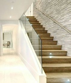 How to choose and buy a new and modern staircase – My Life Spot Modern Stair Railing, Stair Railing Design, Stair Handrail, Staircase Railings, Modern Stairs, Glass Stair Railing, Stairs In Living Room, Escalier Design, House Staircase