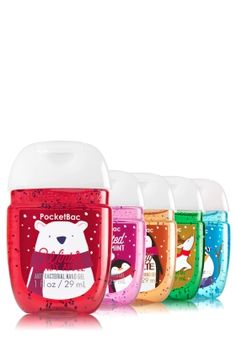 Holiday Traditions - 5-Pack PocketBac Sanitizers - Bath & Body Works - Treat your hands to happy holidays! Five of our NEW PocketBacs, scented with festive favorites, combine powerful germ-killing action with skin-softening Vitamin E so your hands stay clean & conditioned.