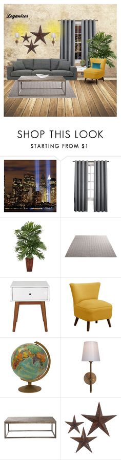 """Mid Century Modern"" by loganizer on Polyvore featuring interior, interiors, interior design, home, home decor, interior decorating, Sun Zero, Nearly Natural, Skyline and Visual Comfort"