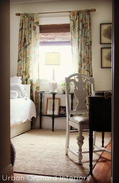 curtains: long patterned with natural bamboo shades