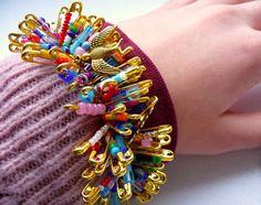 Beaded Safety Pin Charm Bracelet