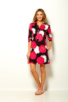 Sara Campbell sleeve tab front shirt dress in poppy print stretch cotton sateen Boston Shopping, Summer 2015, Poppy, Shirt Dress, Sleeves, Cotton, Shirts, Clothes, Collection