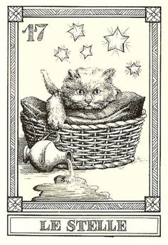 """""""Le Stelle""""-- Gatti, by Osvaldo Menegazzi. The deck of 22 tarot cards was published by Il Meneghello in Italy in 1990."""