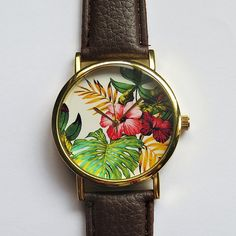 $12 Tropical Floral Watch Hibiscus Flowers Vintage Style by FreeForme