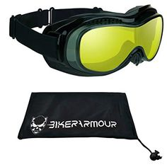 7031eff565 Buy Motorcycle Fit Over Goggles with Polycarbonate Safety Yellow Lenses and  Dual Foam Cushions