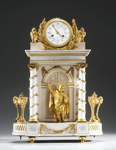 An Ormolu-Mounted Sevres hard-paste porcelain Clock, circa the movement circa Mantel Clocks, Old Clocks, Antique Clocks, Sistema Solar, French Clock, Retro Clock, Time Clock, Grandfather Clock, Elegant Home Decor