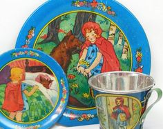 30's Tin Litho Toy Tea Setting, Red Riding Hood storybook graphics, near mint.