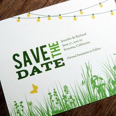 Brides.com: Save-the-Date Cards for a Spring Wedding. A Garden Party Save--date is available as a print-ready PDF for just $24, which means once stationer Eleanor Mayrhofer customizes it with your text, you can purchase your own cardstock and simply print from home.