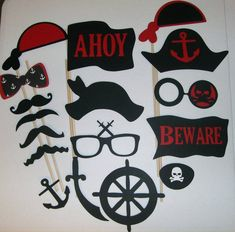 Pirate Photo Booth Prop Mustache, Glasses, Hats, eye patch 17 pieces (2055D)