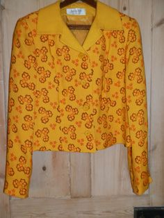 VINTAGE 60'S FLOWER POWER JACKET JANE & JANE BY SUSAN SMALL YELLOW/ORANGE 16-18. in Clothes, Shoes & Accessories, Vintage Clothing & Accessories, Women's Vintage Clothing | eBay
