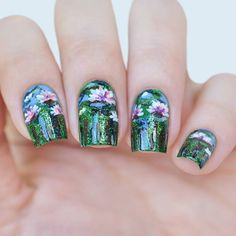"Nail Art Inspired by Claude Monet ""Water lilies"""