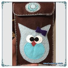 Felt phone case, blue owl...
