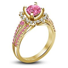 18K Yellow Gold Over 925 Silver Round CZ Disney Aurora Princess Engagement Ring #eightyjewels #SolitairewithAccents