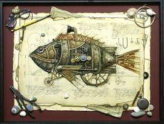 Drawings of fantastic steampunk creatures by Vladimir Gvozdariki (also known as V. Gvozdeva - thank you Artus Sharpe for that). Circo Steampunk, Steampunk Kunst, Animal Drawings, Art Drawings, Wild West Era, Steampunk Animals, Fish Art, Dieselpunk, Art Projects