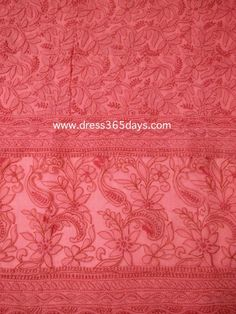 Rose Red Cotton Unstitched Kurta Fabric with Chikankari and Net Applique Daaman (One Piece)