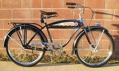 1937 Schwinn Liberty Autocycle bicycle Retro Bikes, Vintage Bikes, Old Bicycle, Old Bikes, Cruiser Bikes, Antique Bicycles, Beach Cruisers, Vintage Cycles, Real Steel