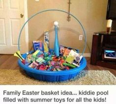 Though I am not one to celebrate Easter in the Traditional sense... I thought this was an excellent Idea. One could gather such items all year long keeping in mind the upcoming ages of the kids. Homeschooling Parents could also be collecting things with Homeschooling in mind, to include recess. They could also be picked up second hand  for those who are frugally minded.