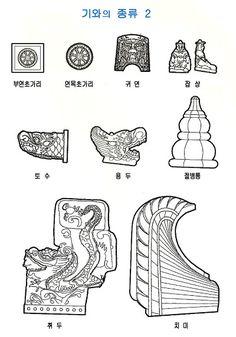 막새기와의 명칭 전통기와는 그 쓰임새에 따라 기본기와, 막새기와, 서까래기와, 마루기와, 특수용 기와 등으로 나뉘며, 그 종류도 매우 다양하다 기본기와는 암키와와 Korean Traditional, Traditional Design, Architecture Details, Interior Architecture, Planet Coaster, Korean Design, History, Inspiration, Temple