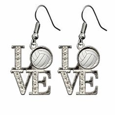 Rhinestone volleyball love earrings!