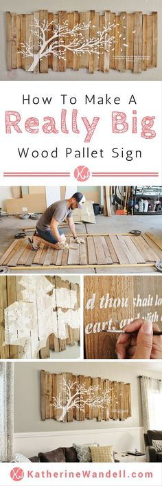 Awesome Tutorial On How To Make A Really Big Pallet Sign! - - - - She has instructions on how to assemble Awesome Tutorial On How To Make A Really Big Pallet Sign! - - - - She has instructions on how to assemble the pallet sign and how she made a… Pallet Crafts, Diy Pallet Projects, Cool Diy Projects, Project Ideas, Art Projects, Driftwood Crafts, Craft Ideas, Wood Pallet Signs, Wooden Signs
