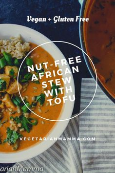 Nut-Free African Stew with Tofu is a play on traditional peanut butter soup, only without the nuts! With the use of SunButter this soup is transformed into something even more delicious than the original. Paleo Stew, Vegan Stew, Vegetarian Soup, Tofu Recipes, Chili Recipes, Dinner Recipes, Free Recipes, African Stew, African Peanut Stew