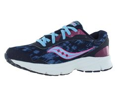 Saucony Women's Sapphire Road Running Shoe, Navy/Pink, 5 M US. Neutral road runner featuring lightweight upper with allover screenprint and minimal overlays. Padded tongue and collar. Lace-up closure.