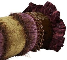 Our Purple and Green Decorative Bolster Pillow has it all! Gathered bands, ruffles, beads, decorative trims and chocolate eyelash fringe combine here for a luxurious pillow fit for a Queen. Decorative Trim, Decorative Pillows, Dream Master Bedroom, Velvet Bed, Awesome House, Tuscan Design, Tuscan Decorating, Bolster Pillow