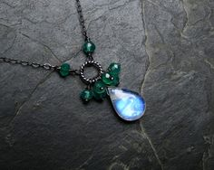 Moonstone Necklace with Green Aventurine on Oxidized Sterling Silver - WoodBerry…