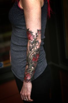Love the wrist creeping up to the elbow design [Emma's Mucha. By Alice Kendall]