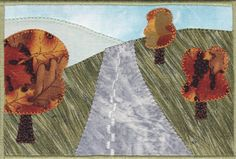 Autumn Road Trip Quilted Fabric Postcard by zizzybob on Etsy