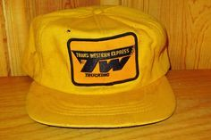 9ea2971d5d20a TRANS WESTERN EXPRESS Trucking Defunct Vintage 80s Yellow Trucker Snapback  Hat Adjustable Merged Vitran Transport Company Cap Obsolete Rare