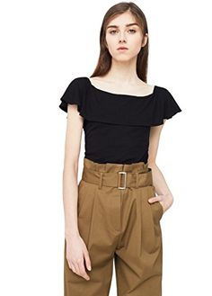 Mango Womens Ruffle Top Black Xs *** Read more reviews of the product by visiting the link on the image.Note:It is affiliate link to Amazon.
