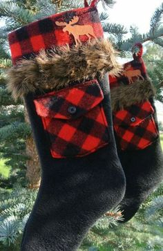 Pair of Red & Black Plaid Fur-Trimmed Rustic Christmas Stockings With Rusty Tin Moose. Great addition to a Christmas plaid theme. Cabin Christmas, Christmas Sewing, Plaid Christmas, Diy Christmas Ornaments, Country Christmas, Christmas Projects, Winter Christmas, Christmas Crafts, Christmas Decorations