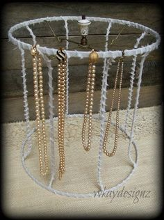 Upcycled vintage lamp shade jewelry display