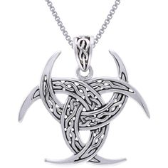 CGC Sterling Silver Celtic Trinity Knot Triple Crescent Moon Necklace (147.825 COP) ❤ liked on Polyvore