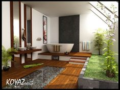 Outdoor/indoor zen feel. Love the glass raised tub, stone (waterfall?) wall and the green life.