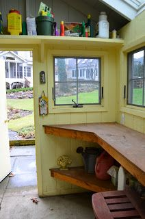 Potting sheds are tool barns for gardeners.  Open counter space is needed when those flower flats arrive. Shelves can go anywhere, above the door, under the counter and over windows.  Make sure the floor is concrete or a similar easy clean surface.  Under counter shelves should be deep enough for pots and watering cans.