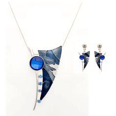 Fashion Jewelry Liberty Enamel Necklace Set, Alloy+enamel+rhinestone, 40+8cm, 70g