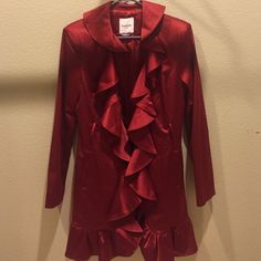 Red Bebe trench Ruffled Bebe silk trench coat I do have the belt that goes with it .. bebe Jackets & Coats