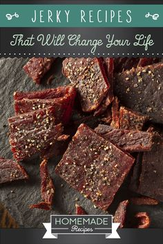Have you ever wanted to make homemade jerky? You can with these 15 homemade jerky recipes! Don't miss recipes like spicy tofu jerky & teriyaki beef jerky! Jerkey Recipes, Homemade Beef Jerky, Do It Yourself Food, Venison Recipes, Canning Recipes, Dehydrated Food Recipes, The Best, Food And Drink, Favorite Recipes