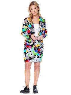Opposuits™ Businesskostüm für Damen mit Testbildaufdruck, bestehend aus Blazer und Rock.