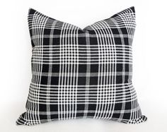 Plaid Pillow,  Black and White Throw Pillows by PillowThrowDecor