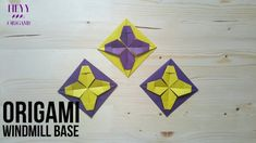 How to make an origami windmill base variation Origami Wall Art, Origami Quilt, Origami Windmill, Paper Quilt, Travel Oklahoma, Paper Folding, Paper Crafts, Base, Make It Yourself